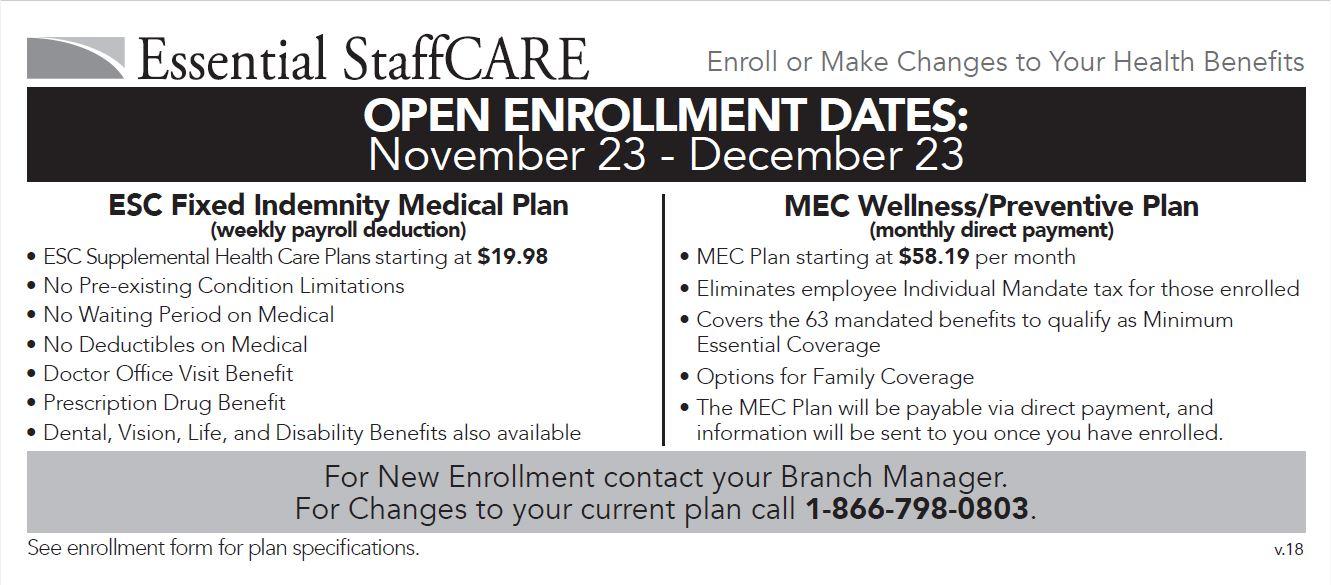 Open Enrollment Announcement 2018